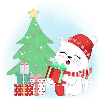 Cute cat and gift boxes christmas season illustration