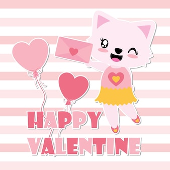 Cute cat girl gets love letter vector cartoon illustration for happy valentine card design