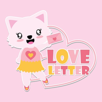 Cute cat girl is happy gets love letter vector cartoon illustration for happy valentine card