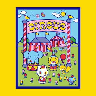 Cute cat going to circus poster illustration with funfair background design