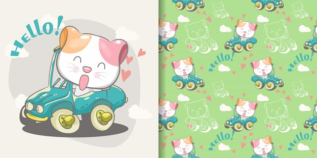 Cute cat on a green car seamless pattern and illustration card