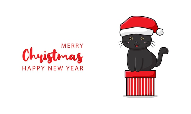Cute cat greeting merry christmas and happy new year cartoon doodle card background illustration flat cartoon style