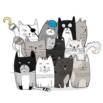 Cute cat hand drawn cartoon style