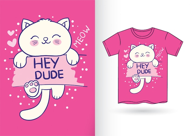 Cute cat hand drawn for t shirt