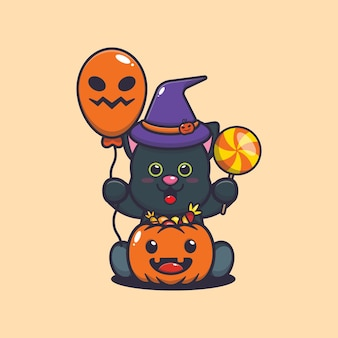 Cute cat happiness in halloween day cute halloween cartoon illustration