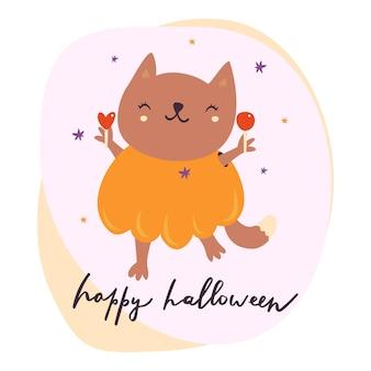 Милый кот с хэллоуином