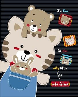 Cute cat happy,vector animal illustration