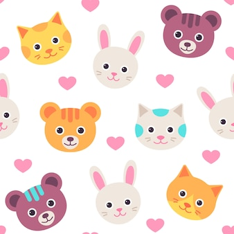 Cute cat, hare and bear faces seamless pattern