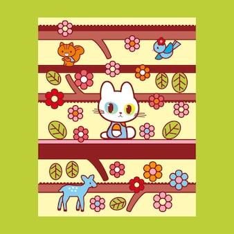 カラフルな花の背景デザインのジャングルポスターイラストで楽しんでいるかわいい猫