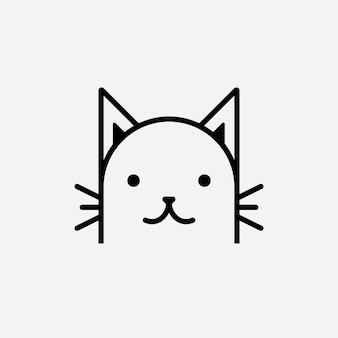 Cute cat head cartoon logo cat head good for cat care related products