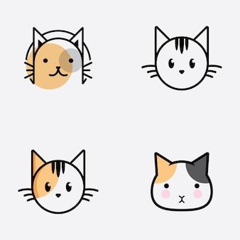 Симпатичная голова кошки с мультяшным логотипом голова кошки хорошо подходит для продуктов, связанных с уходом за кошкой
