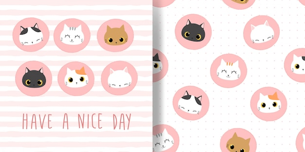 Cute cat head circle badge icon cartoon doodle seamless pattern and card cover