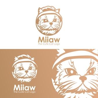Милый кот голова векторный логотип шаблон