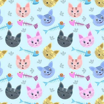 Cute cat head with fish bone on soft blue background.