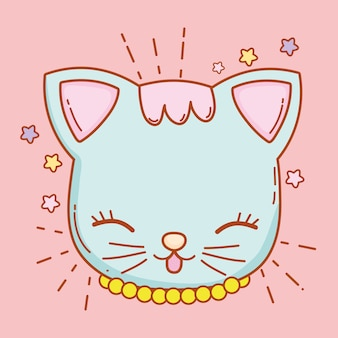 Cute cat head with whiskers and stars