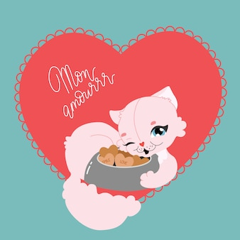 Cute cat in a heart shape. romantic hand-drawn  greeting card. cat lady, love cookies and romantic funny quote text. cartoon pink kitten laying and smiling. modern illustration for card, poster.