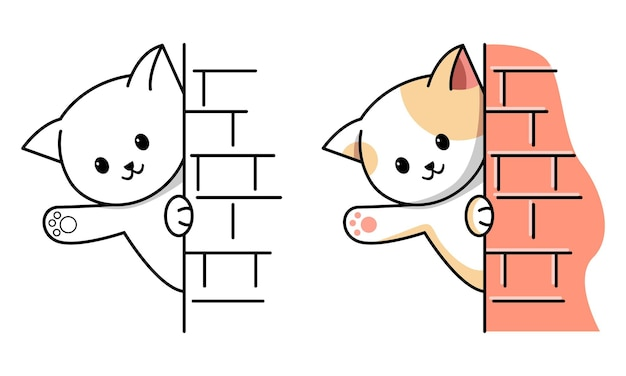 Cute cat hide behind wall coloring page for kids