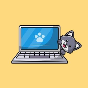 ノートパソコンの漫画イラストの後ろに隠れているかわいい猫。分離された動物技術の概念。フラット漫画スタイル。
