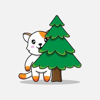 Милый кот прячется за деревом