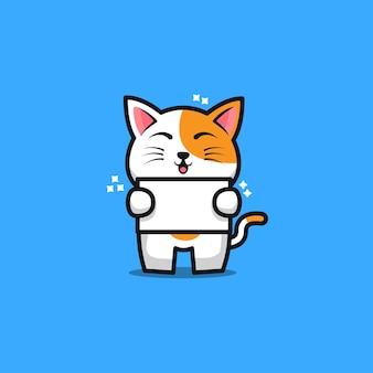 Cute cat hold banner cartoon illustration