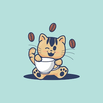 Cute cat hold a coffee cup cartoon illustration