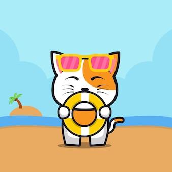 Милый кот держит кольцо для плавания иллюстрации шаржа животное летняя концепция