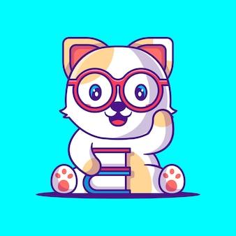 Милый кот держит книгу иллюстрации шаржа. плоский мультяшный стиль концепции животных и образования