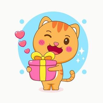 Милый кот держит подарочную коробку иллюстрации шаржа