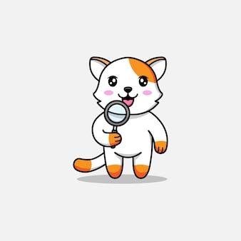 Милый кот держит увеличительное стекло