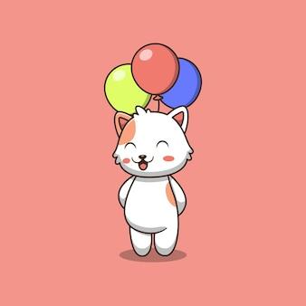 Cute cat holding balloon cartoon illustration.