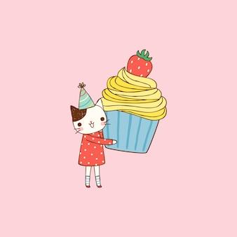 フラットスタイルで大きなカップケーキを保持しているかわいい猫