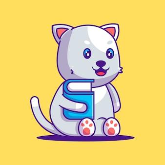 Cute cat holding book cartoon illustration. animal and education flat cartoon style concept