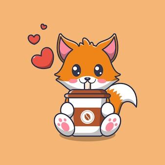 コーヒーカップ漫画イラストを保持しているかわいい猫