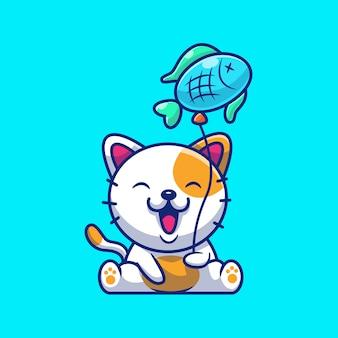魚のバルーンを保持しているかわいい猫