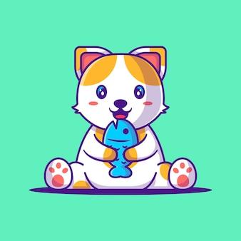魚の漫画イラストを保持しているかわいい猫。動物フラット漫画スタイルの概念