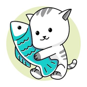 Милый кот держит рыбу иллюстрации шаржа