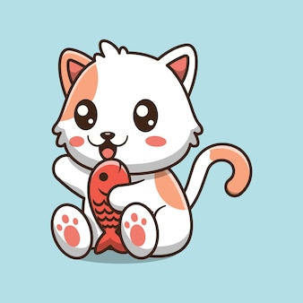 魚の漫画イラストを保持しているかわいい猫