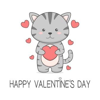 Милый кот держит сердце день святого валентина