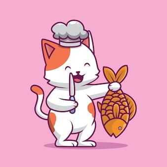 Милый кот держит нож и иллюстрацию шаржа рыбы