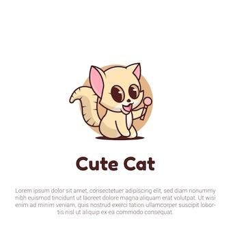 Cute cat holding a lollipop logo template