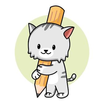 연필 만화 그림을 들고 귀여운 고양이