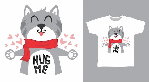 かわいい猫がtシャツのデザインを抱きしめます