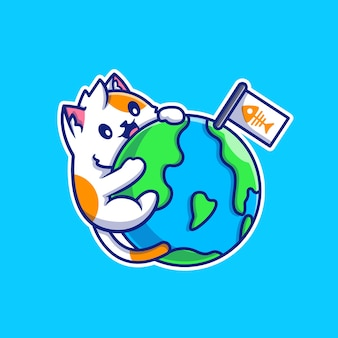 Cute cat hug world cartoon vector  illustration. animal nature  concept isolated  vector. flat cartoon style