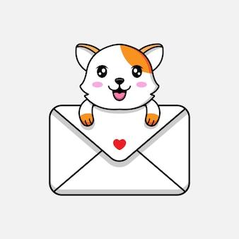 Милый кот обнимает большой конверт
