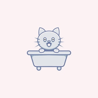 Cute cat illustration on bathtub cartoon style