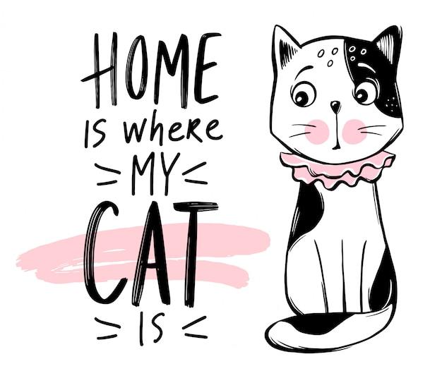 Cute cat illustration. hand drawn stylish kitten. doodle kitty.