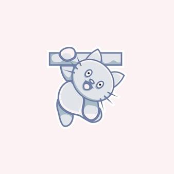 Cute cat illustration hanging in cartoon style