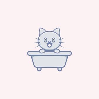 Милая иллюстрация кошки на ванной мультяшном стиле
