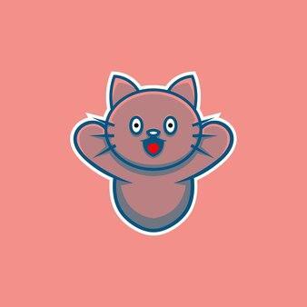 漫画のスタイルで幸せに笑ってかわいい猫のイラスト