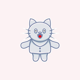 Cute cat illustration wearing clothes in cartoon style